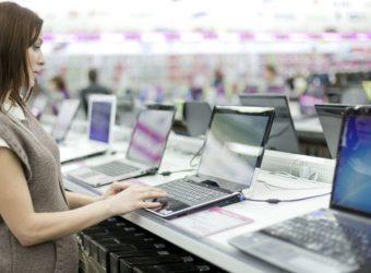 A girl checking laptop